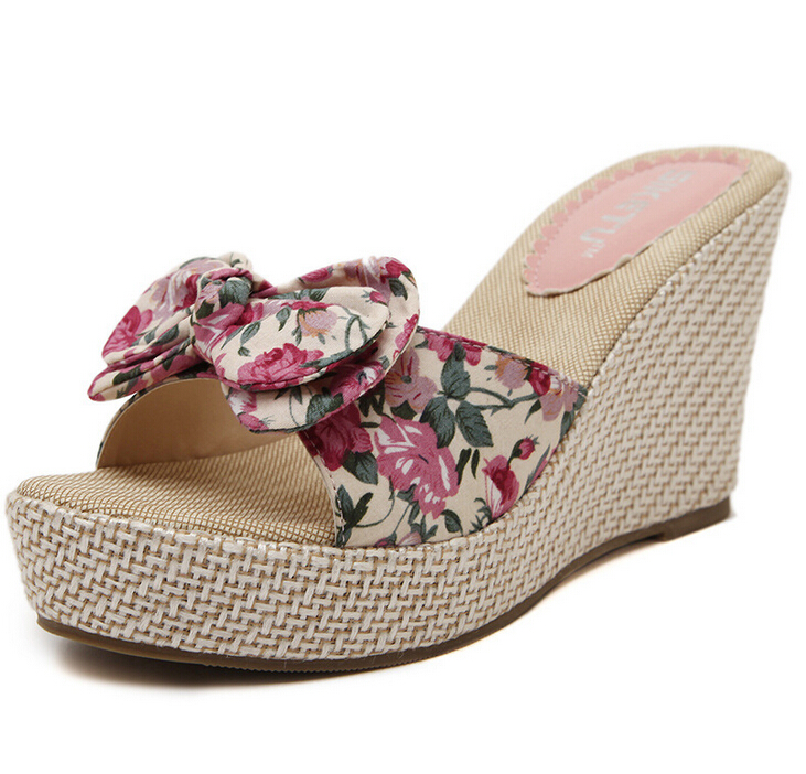 2016 new summer women slippers Wedge sandals woman fashion flower bow slippers woman Summer shoes for woman with high 9cm<br><br>Aliexpress