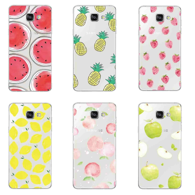Samsung Galaxy A7 2017 Shell Galaxy A720 Phone Case Transparent 0.6mm Ultra Thin Cover Silicon Fresh Fruits Pattern Gel