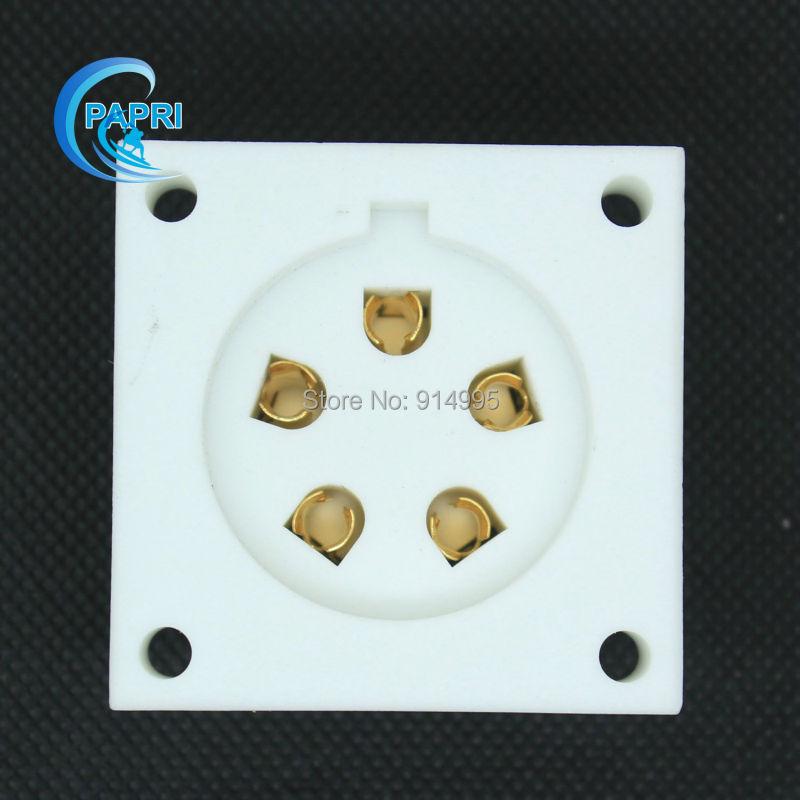 Free Shipping 4PCS Gold ceramic P5A 5pin chassis mount tube socket for Aa, Ba, Be, Cd,Ce,Da,P5Gi(China (Mainland))