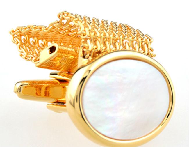 Luxury gold chain cufflink 2 colors shell cuff links french shirt cuffs cufflink for men wedding cufflink,Free Shipping(China (Mainland))