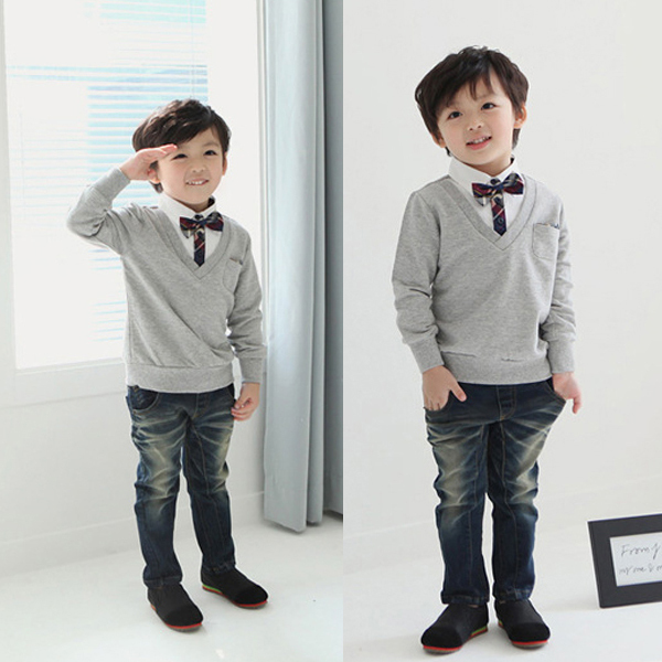 Kids Boys School Bow Tie Sweater T-shirts Pullover Long Sleeve Tops Shirts 1-4T New<br><br>Aliexpress
