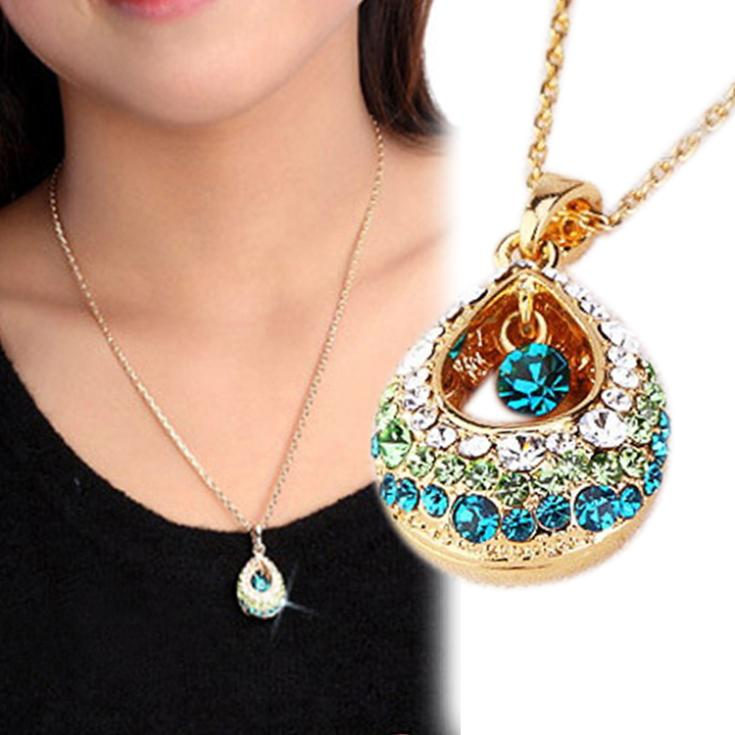 Charming Jewelry Multi colored Crystal Rhinestones Inlaid Teardrop Shaped Pendant Necklace NL 0518