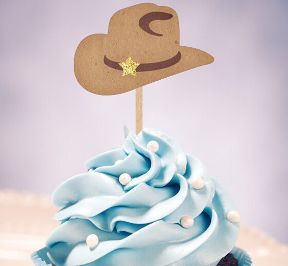 western cowboy hats Cupcake Toppers wedding birthday baby shower Party food picks free shipping photo booth props decorations(China (Mainland))