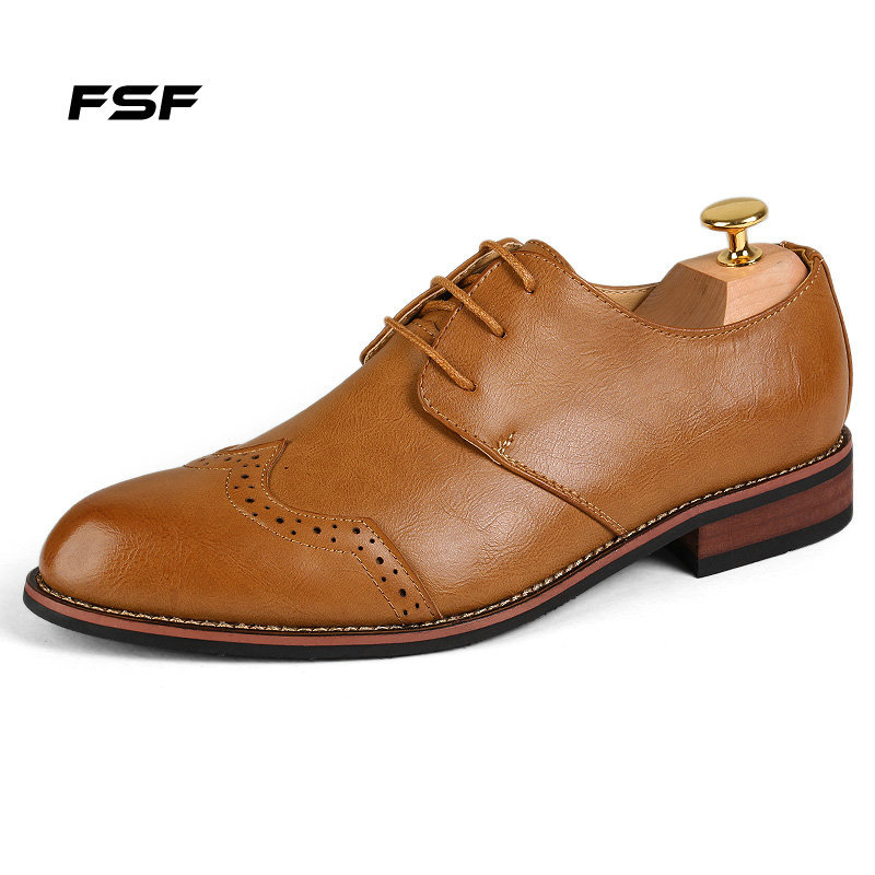 FSF Mens Office Pointed Toe Shoes Waterproof&Lace-Up Formal Business Leather Wedding Fashion Style Size 41-43 906