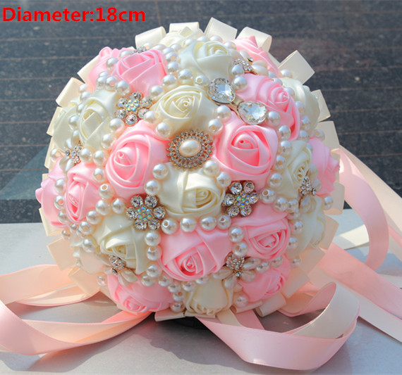 Top Quality Artificial Flowers Pink Cream Wedding Bouquet Handmade Bridal Flower Wedding Bouquets With Diamond Pearl Flower Rose(China (Mainland))