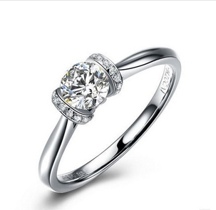 0.5CT Super Test Real Moissanite Female Marriage Ring Solid Gold 18K Synthetic Diamond Original Pure White Gold Wedding Ring(China (Mainland))