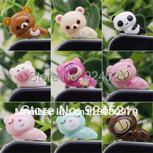 3.5mm Anti Dust Earphone Jack Plug Stopper Cap Pig Panda bear for All Smart Cell Phone plug36(China (Mainland))