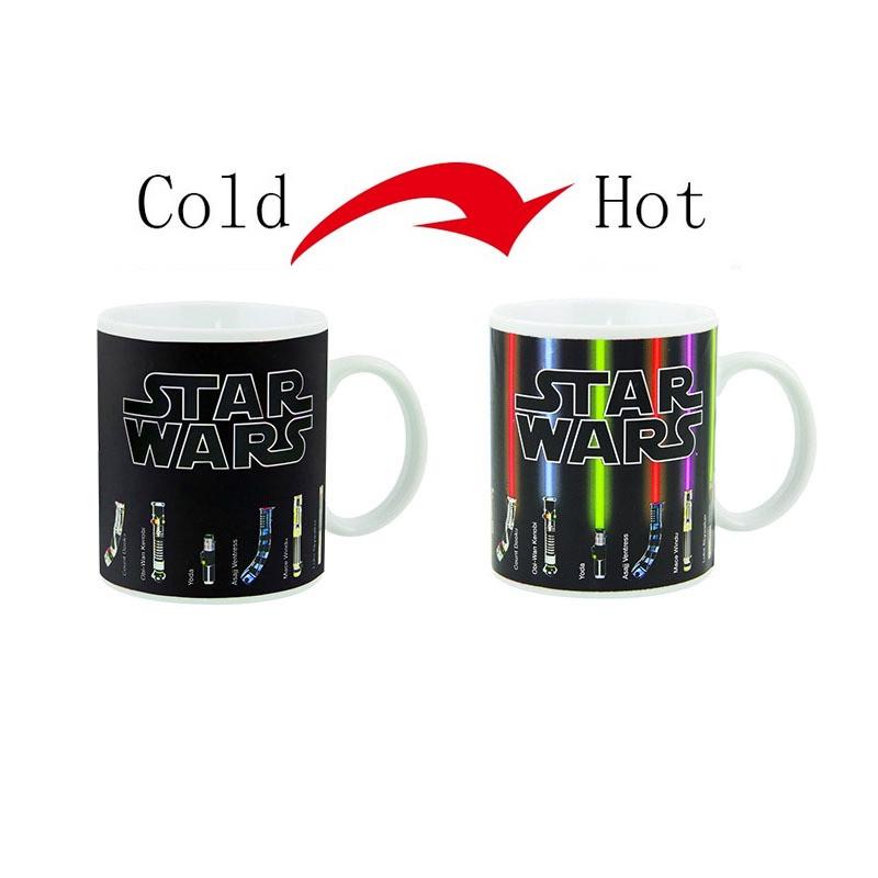 Fashion Magic Mugs Star Wars Mug Lightsaber Heat Reveal Color Change Ceramic Coffee Cup Temperature Sensing Birthday Gift Mug(China (Mainland))