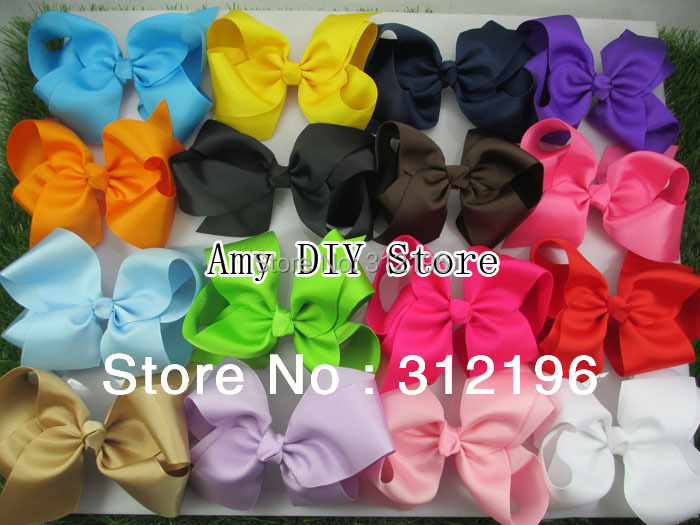 6 Inches Big Grosgrain Ribbon Hairbows,Baby Girls' Hair Accessories With Clip,Boutique Hair Bows Hairpins-20pcs-Free Shipping(China (Mainland))