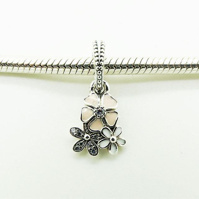 Серебряный бусины поэтический цветет с европейским смешанные эмаль и ясно Cz подходит европейские браслеты 2016 весной мода ювелирных изделий