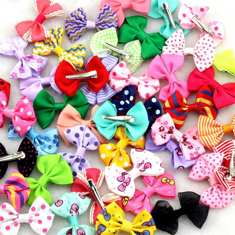 "10Pcs/lot New 2.5""Ribbon Bow clip Girl little hair top clip Dot/Printed/Solid Bow Hairpin for Baby Children accessories for hair(China (Mainland))"