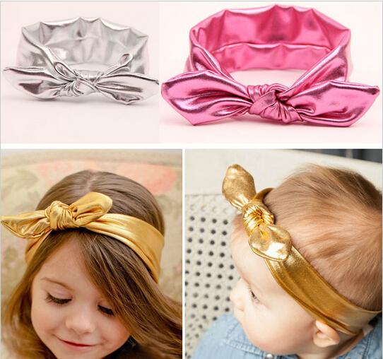 2015 новые девочки малышей эластичный стрейч уха кролика тюрбан узел с бантом Hairband ...