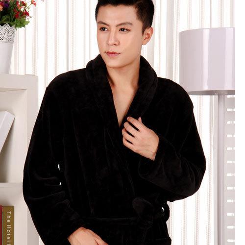 Зима мужчины халат длинный рукав ночь платье тёплый флис вилочная часть купальный костюм