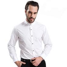 Col montant chemises habillées pour hommes couleur unie à manches longues Style chinois col Mandarin rouge décontracté classique formel marque chemise homme(China)
