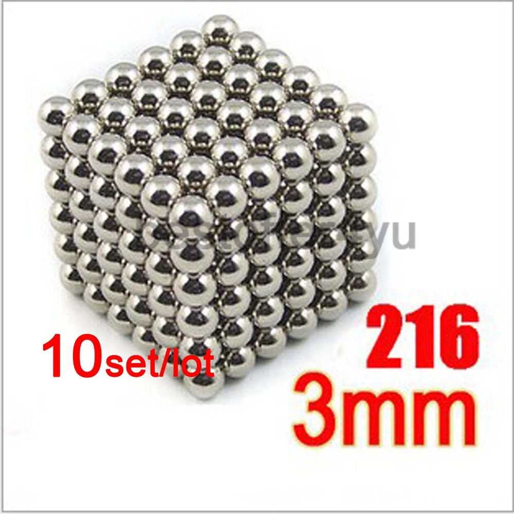 10set 216*3mm Diameter silver BuckyBalls Magnetic Ball Cube NeoCube Funny Magnet Ball Neodymiums Novelty + metal box + tracking(China (Mainland))