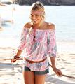 2016 Summer Beach Fashion Tee T shirt Casual Round Neck Sport T Shirt Women Print Style