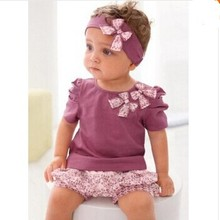 Fashion Baby Clothing Summer Suit Newborn Baby Girl Set Sleeve Romper Headband Pants Infant One Pieces