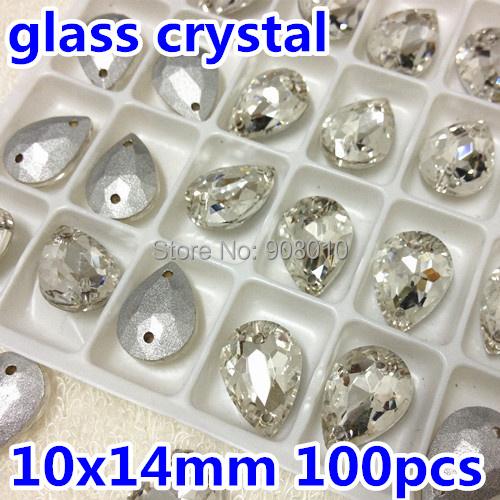 Pointback Sew on Crystals Stone Pear Drop 10x14mm 100pcs Teardrop Glass Rhinestone 2holes Silver Base(China (Mainland))