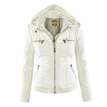 2016 New Leather Suede Jacket Women Spring Autumn Zipper Jacket Tops Coat European Removable Hooded Short Outerwear LJ3739(China (Mainland))