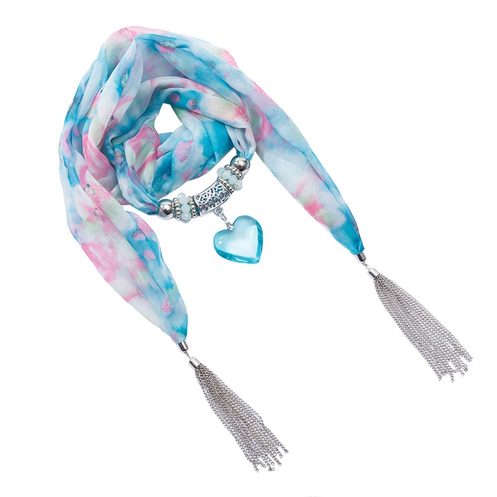 Floral Multicolor Scarf Necklace Scarves with Silver Tassel and Titanic Ocean Heart Pendant for Women(SC150017)(China (Mainland))