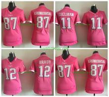 Women ladies all stitched PINK love New England Patriots 12 Tom Brady 87 Rob Gronkowski 11 Julian Edelman(China (Mainland))