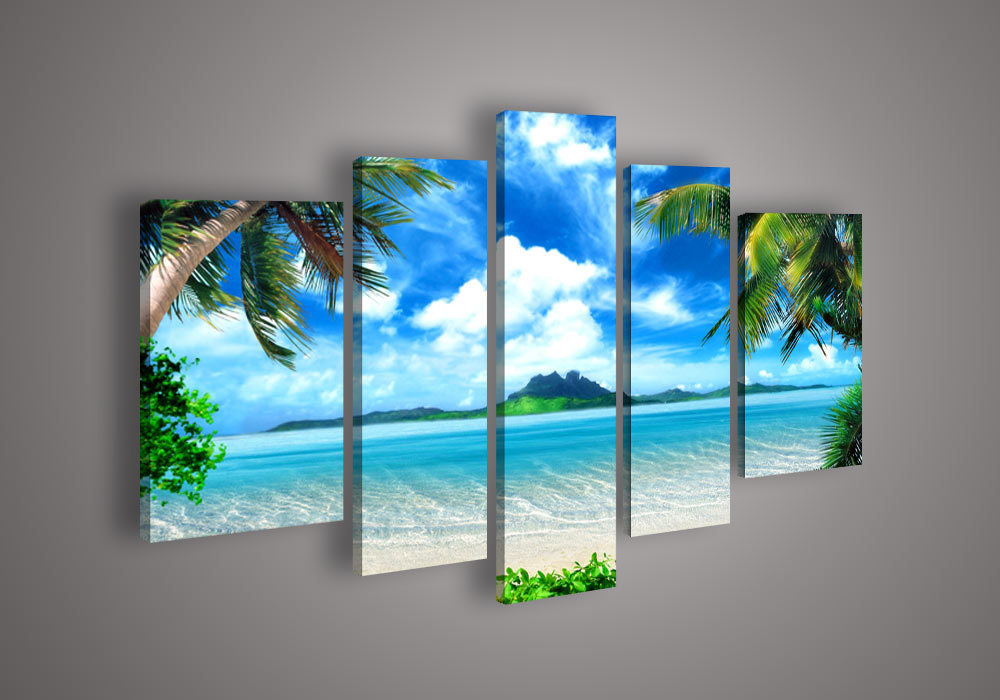 5 Panel Wall Art Seascape Blue Ocean Picture Sea Oil Painting On Canvas Living Room Pictures Lighted For Home Decor(China (Mainland))