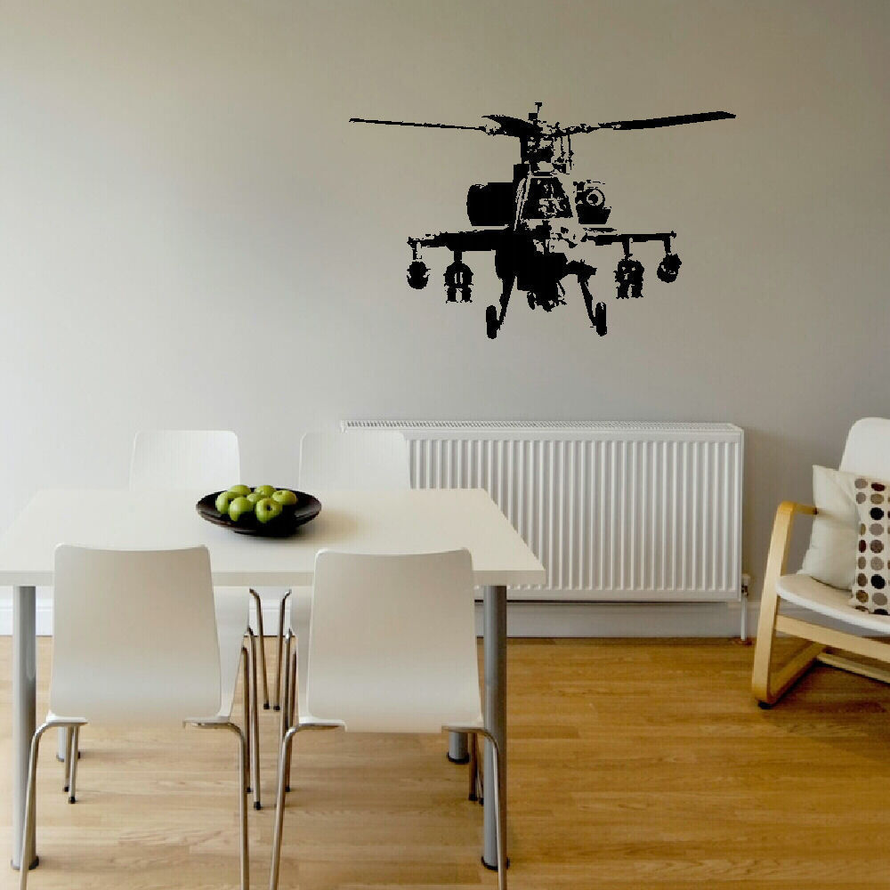 LARGE BANKSY STYLE HELICOPTER ART BOYS BEDROOM WALL MURAL STICKER TRANSFER VINYL 70cm x 43cm(China (Mainland))