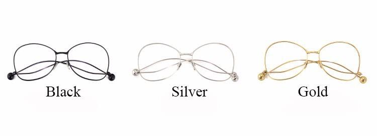 OLTLO Women Eyewear New Retro Cool Optics Mirror Sunglasses Eyeglasses Female ball Unique Lady Flat Metal Glasses Frame Gafas