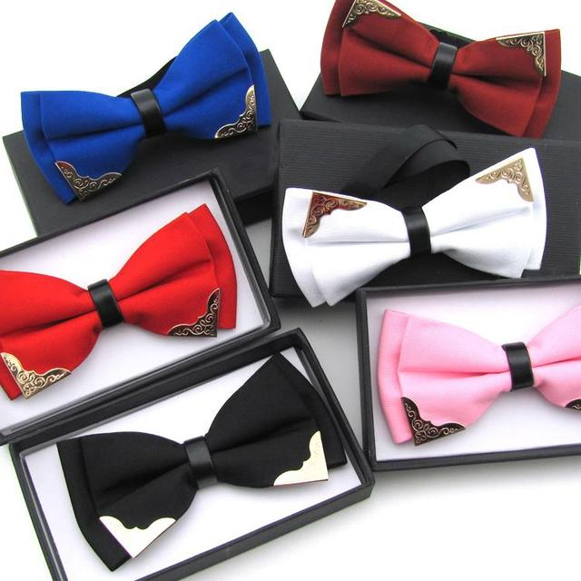 Новинка бутик глава металла галстуки-бабочки для жениха мужчины женщины твердых боути ...