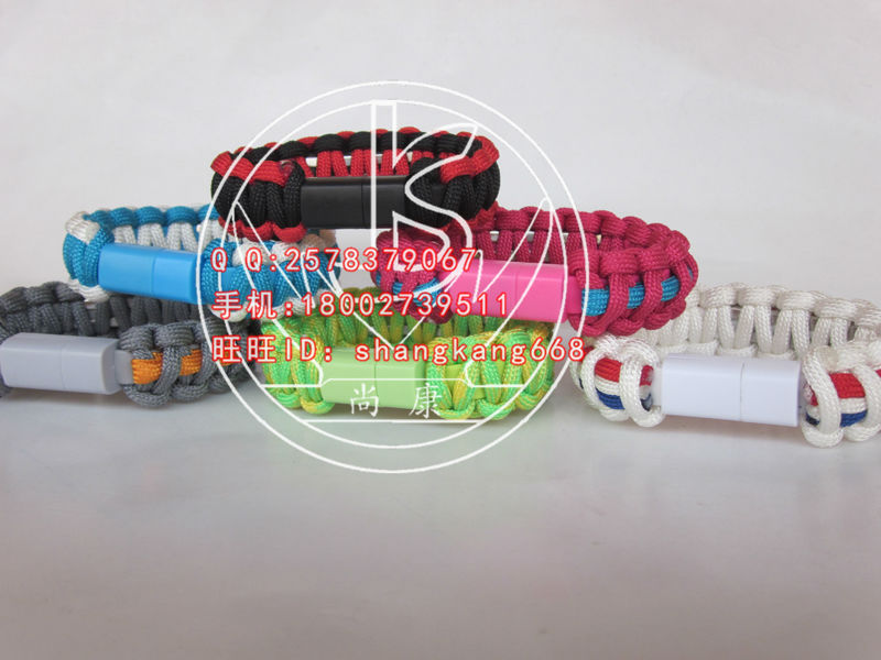 usb data line wristband,handmade woven survival bracelet,The portable outdoor travel fast charge survival bracelet,free shipping(China (Mainland))
