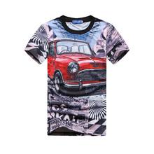 Red Car T Shirts Mens T-shirts Tee Shirt Man Camisetas Masculinas O-neck 3D T-shirt Casual Short versae t shirt hombres camiseta(China (Mainland))