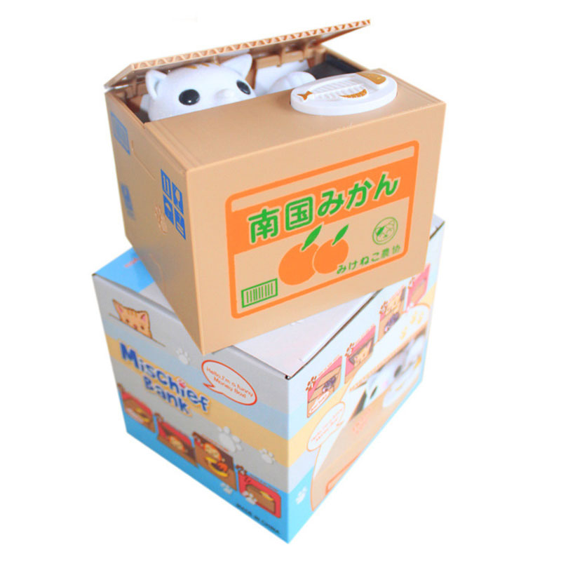 New Super Cute Adorable Cat Stealing Piggy Bank Cat Eat Creative Money Box Safe Box Safes Saving Money Coin Bank Gifts for Kids(China (Mainland))