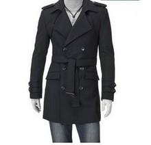 new 2016 winter coat men woollen male coat long trench coats overcoat outwear double breasted plus size AZ067(China (Mainland))