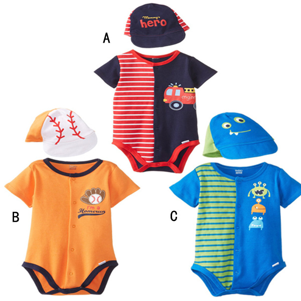 2015 New Summer Baby Bodysuit + Hat,Newborn Boys Girls Layette Short Jumpsuits One-Pieces Sleepsuit Babies Summer Clothes(China (Mainland))