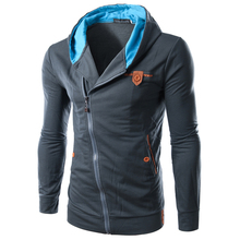 2016 Mens Spring Fashion Slim Hooded Personality Oblique Zipper Design Solid Color Coat Mens Hoodie Sweatshirt Sportswear BW1815(China (Mainland))