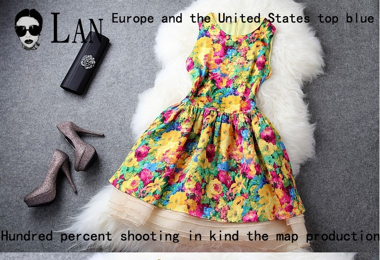 Hot sale! summer brand design Europe and united states top fashion o-neck sleeveless flower patchwork organza mixed color L013Одежда и ак�е��уары<br><br><br>Aliexpress