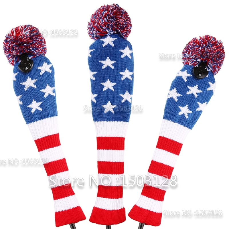 Golf New 3Pcs 1# 3# 5# One Set Stars & Stripes Wool Knit Pom CoversGolf Clubs Set Driver 3# 5# Fairway Wood headcovers(China (Mainland))