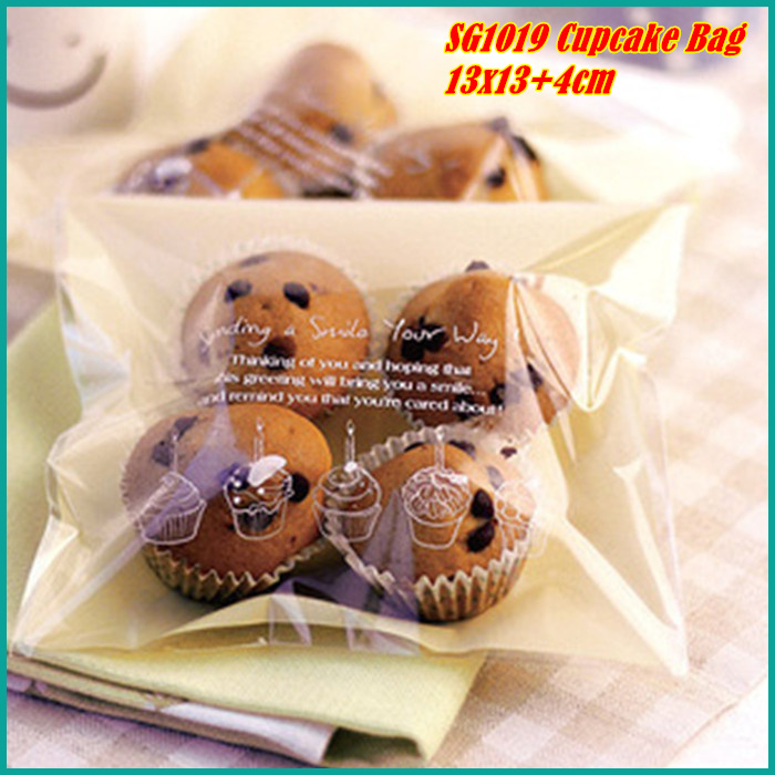 (100pcs) 13X13cm Cute Cake Print Self Adhesive Packaging Bags For Cupcake Biscuit Cookie Snack Cupcake Gift Soap SG1019(China (Mainland))