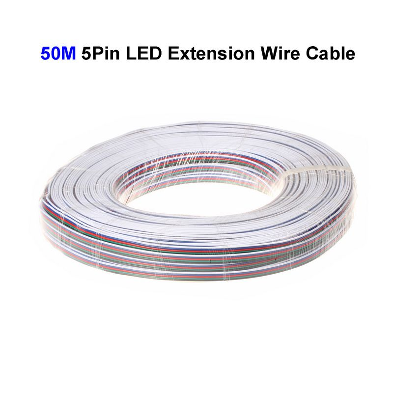 ( 3 reel/lot ) 50M 22AWG 5 Pin RGBW LED Extension Connector Wire Cord For LED Lighting Connector Cable(China (Mainland))