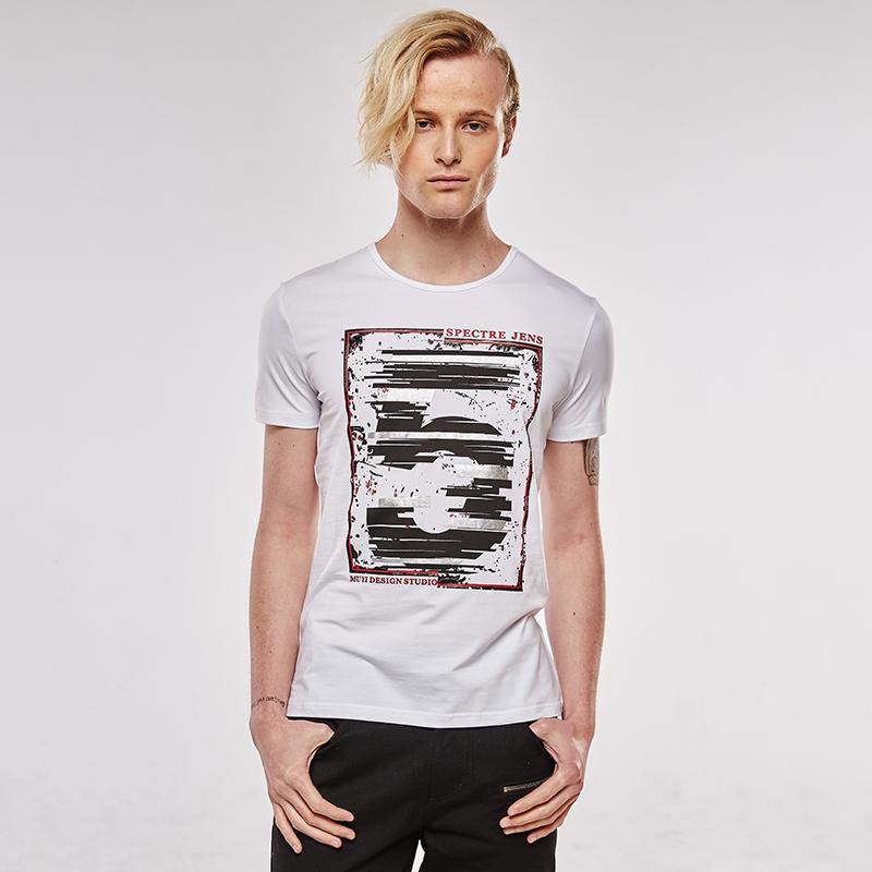 [Men bone] 2016 Summer Casual Cozy Men Number 5 Print Milk Silk White T-shirt T-shirts Short Sleeve Good qualtity(China (Mainland))