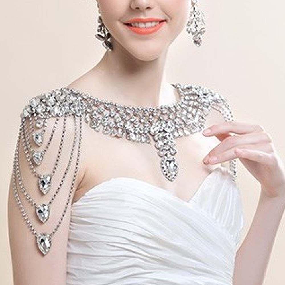 Bridal Imitation Diamond Crystal Rhinestone Shoulder Deco Bib Halter Large Necklace Wedding Wrap Free Shipping(China (Mainland))