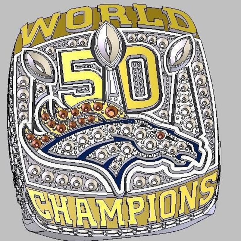 PreSale Denver Broncos 50 Championship Ring 2015 2016 Replica Super Bowl Football Rings Jewelry USA Men MANNING Fan Gift HC50(China (Mainland))