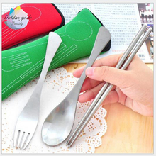 GYD Juegos De Vajillas Lunch Box for Kids Lancheira Pcst Fork Spoon Travel Stainless Steel Tableware Portable Camping Bag Picnic