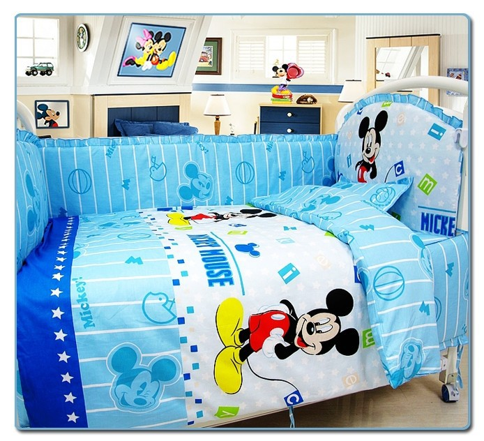 Фотография Promotion! 10PCS Mickey Mouse Baby Bedding Sets Crib Cot Bassinette Bumper Padded (bumper+matress+pillow+duvet)
