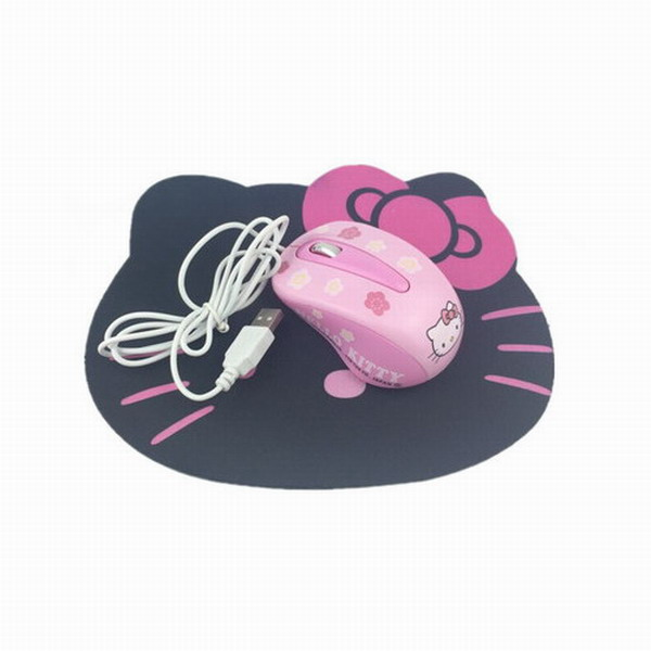New Hello Kitty Wired Mouse Computer USB Optical Mouse + Cute Mouse Pad For Computer Laptop(China (Mainland))