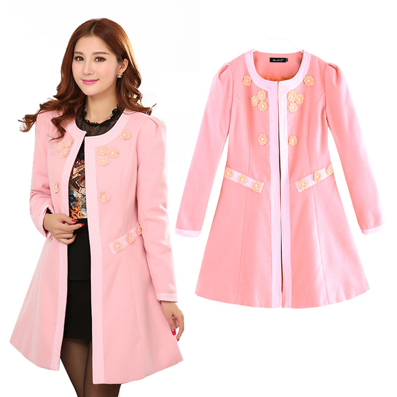 New 2014 Fashion Female Winter Overcoat Women Coat Cardigan Warm Pink Plus Size XXXXL Long Ladies Outerwear ClothingОдежда и ак�е��уары<br><br><br>Aliexpress