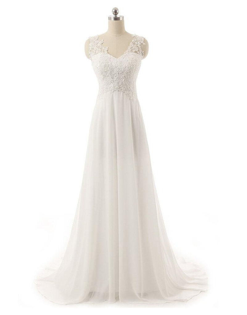 Elegant white ivory beach wedding dress 2015 v neck for White elegant wedding dresses