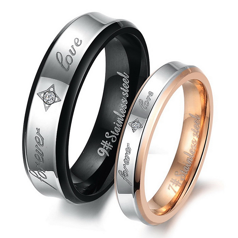 1PC Fashion Stainless Steel Rhinestone Laser Engraving Couple Rings Two-tone(All The Ring Size As Second Picture Shown)(China (Mainland))