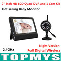 Free shipping wireless 7 TFT LCD Monitor with 1 Baby monitor Camera 4CH QUAD DVR Security