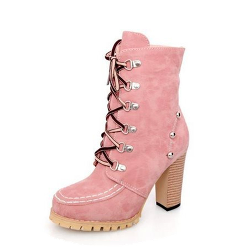 Hot Punk Stylish River Shoes Women Gladiator Boots Vintage Lace Up High Heels Spring Autumn Motorcycle Ankle Boots Shoes Woman(China (Mainland))